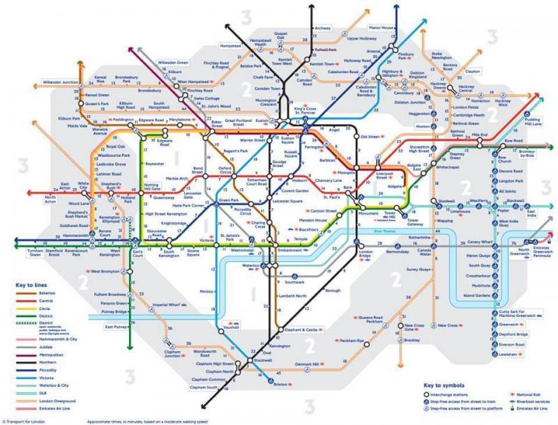 La carte des distances à pieds entre les stations de métro à Londres