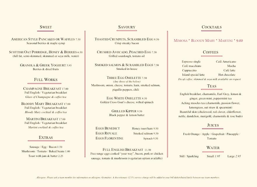menu Breakfast Island Grill London