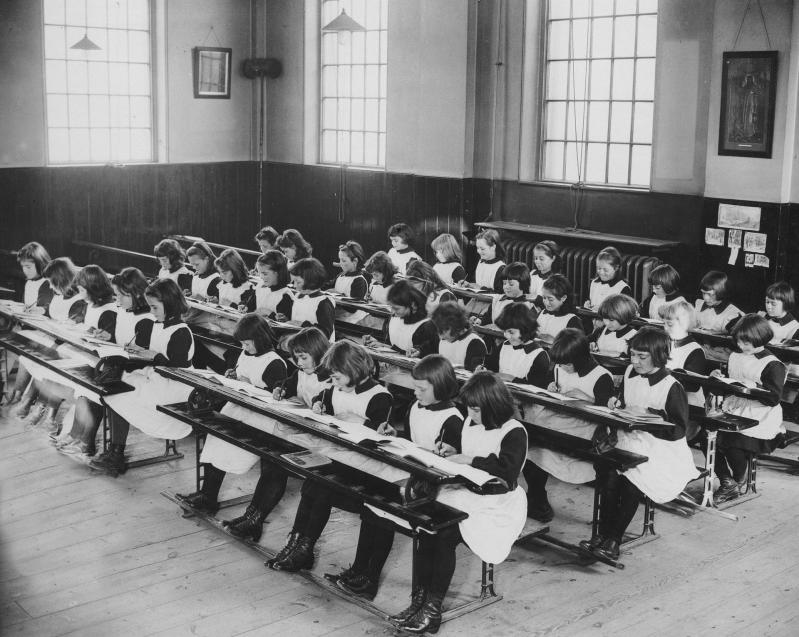 Girls in the london foundling hospital schoolroom 20th century courtesy coram in the care of the foundling museum