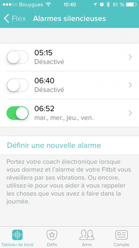 Régler l'alarme sur Fitbit Flex