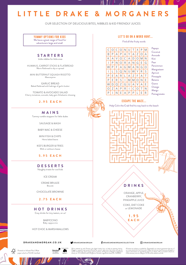 The sipping room kids menu