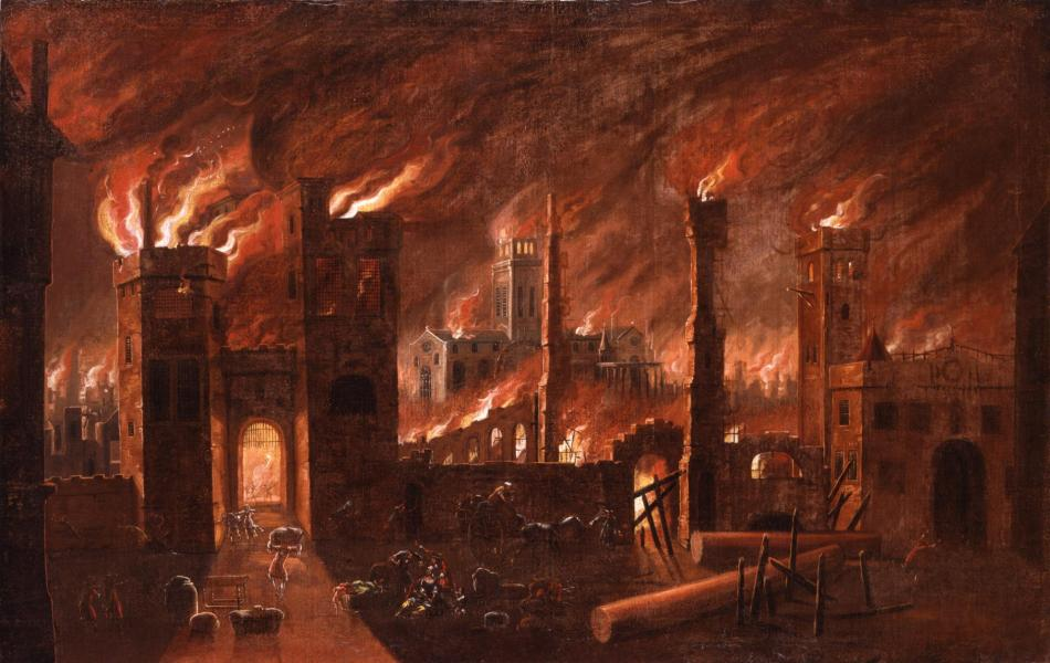Oil painting of the great fire of london seen from ludgate c museum of london