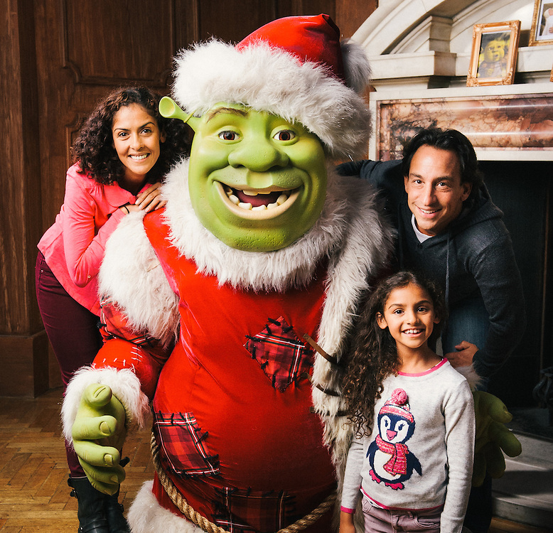 Xmas shrek and family at fireplace low