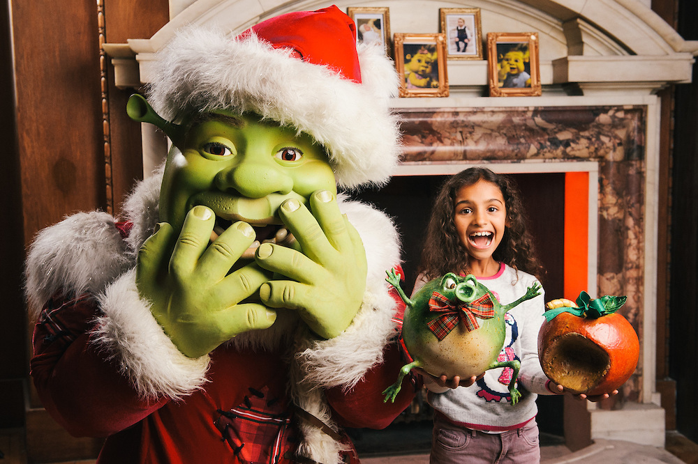 Xmas shrek and friend with props close up funny